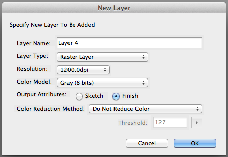Manga Studio New Layer screen